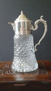 Crystal Carafe Pitcher Silver Plated Lid Made In Italy Lavorazione A Mano