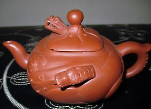 Antique Yixing Zisha Teapot Dragon Spout Carved Clay Art Pottery Square Lid Htf