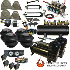 C10 73 87chevy Gmc Air Ride Kit 2600 Bags 3 8 Valve 5 Gal Two Blk Dc480s Xzx