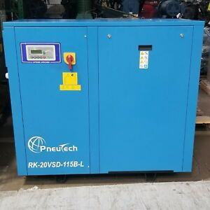 Used Pneutech 20 Hp Vsd Rotary Screw Air Compressor Low Hours 208 230 Volt