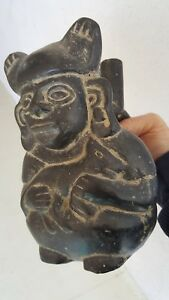 Pre Columbian Moche Dog Earred Stirrup Spouted Figural Vessel Holding Animal