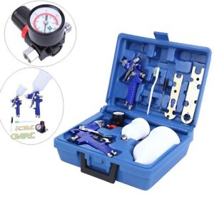 Hvlp 2 Spray Gun Kit 0 8 1 4 Mm Nozzle Paint Base Touch Up Gravity Feed Set