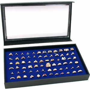 Glass Top Lid 72 Ring Black Showcase Jewelry Display Storage Case Organizer Box