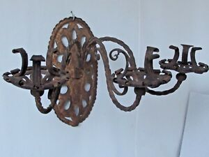 Antique Spanish Wrought Iron 3 Arm Candle Sconce