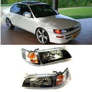 1993 1997 Toyota Corolla Headlights And Corner Lamps 4pcs Set Black Jdm Style