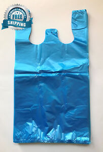 Rg Large Plastic Grocery T shirts Carry out Bag Blue Unprinted 12 X 6 21 1000