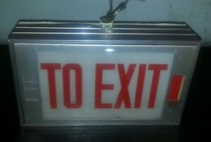 Vintage 1950s Wall Mount To Exit Sign aluminum Glass