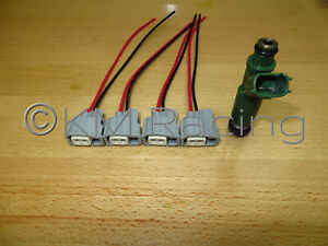 4x Toyota Fuel Injector Wiring Harness Connector Pigtails Quick Disconnect