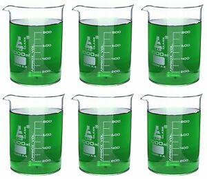 Eisco Labs Beaker 1000ml Borosilicate Glass 100ml Graduation Low Form Pack