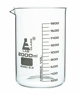 2000ml Graduation Beaker Low Form With Spout Borosilicate Glass 200ml