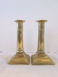 Period Antique Push Up Brass Candlesticks Candle Holders 5 11 16