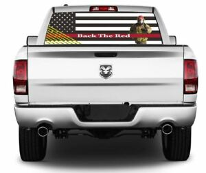Back The Red Firefighter Wrap Rear Window Graphics Decal Sticker 144