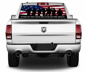 Home Of The Free Because Of The Brave Rear Window Graphics Decal Sticker 145