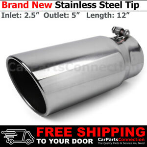 Angled Polish 12 Inch Bolt On Exhaust Tip 2 5 In 5 Out Stainless Truck 202687