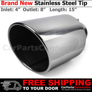 Angled Polish 15 Inch Bolt On Exhaust Tip 4 In 8 Out Stainless Truck 203103