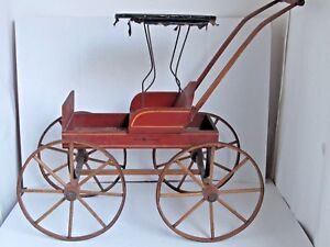 Antique Victorian Doll Carriage Buggy Stenciled Wood With Canopy