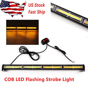Car Cob Led Amber Strobe Traffic Emergency Light Bar Warning Lamp Control 72w Us