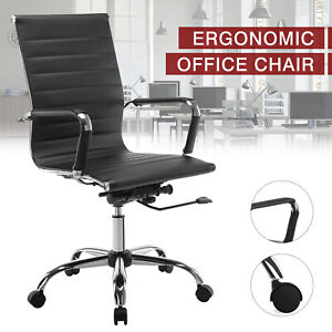 High Back Pu Leather Office Chair Executive Task Ergonomic Computer Desk Black