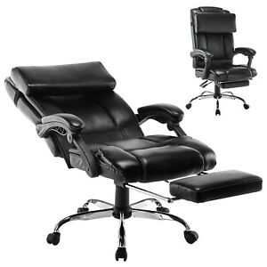 Executive Reclining Office Chair Ergonomic High Back Footrest Armchair Leather