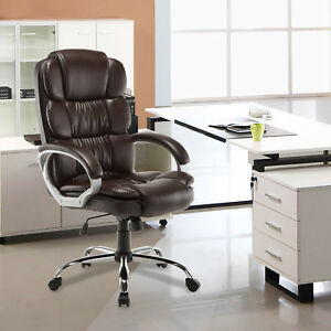 Pu Leather High Back Office Chair Executive Task Ergonomic Computer Desk Brown