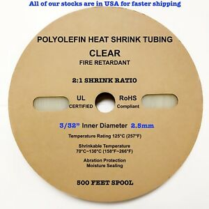 500ft Clear 3 32 2 5mm Polyolefin 2 1 Ratio Heat Shrink Tubing M23053 5 Cl3 Ul