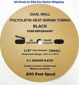 200 Ft Black 1 4 6mm Dual wall Adhesive 3 1 Ratio Heat Shrink Tubing M23053 4