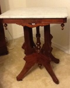 Antique Mahogany Victorian Eastlake Marble Top Parlor Table
