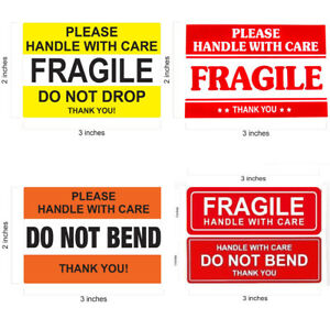 Fragile Sticker 1 X 3 2 X 3 Do Not Bend Do Not Drop Thank You Handle With Care