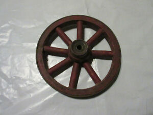 Antique Primitive Early Wood Red Painted 8 Inch Childs Toy Wagon Wheel