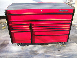 Snap On 11 drawer Masters Series Double Bank Roll Cab Tool Box Candy Apple Red