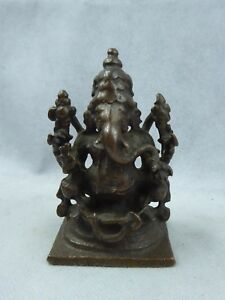 Indian Antique Bronze Ganesh Finely Cast Pierced Arms 18th Century Patina