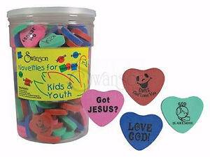Eraser heart Assorted Colors Sayings pack Of 144