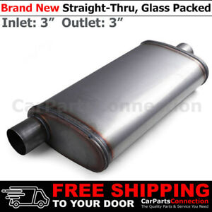 3 Inches Offset In center Out Stainless Steel Straight Street Muffler 200659