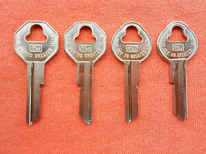 4 Vintage Gm Chevy Buick Pontiac Olds Cadillac Key Blanks 1935 1966