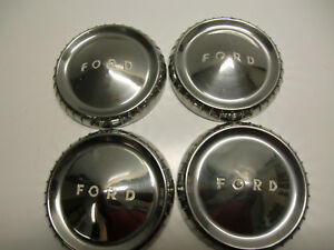 Vintage 1960 S Ford Galaxy Falcon Fairlane Dog Dish Center Hub Caps Wheel Covers