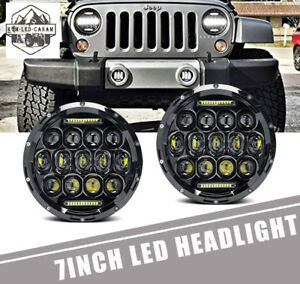 Dot Approved 7 Led Headlights Hi Lo Beam Drl For Jeep 97 2017 Wrangler Jk Lj Tj