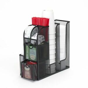 Coffee Stand Station Condiment Organizer Caddy Cup Lids Dispenser Cups Holder bm