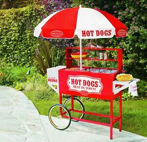 Hot Dog Stand Vintage Commercial Cart With Umbrella Home Party Ball Games Fairs