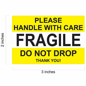 Fragile Stickers 1x3 2x3 Handle With Care Do Not Bend Do Not Drop Thank You