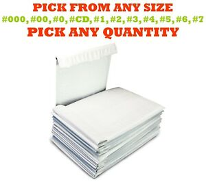 Poly Bubble Mailers Shipping Mailing Padded Bags Envelopes Self seal White Size