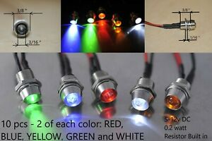 12v Led Indicator Light Red Blue Dash Panel Pilot Signal Dashboard Lights Bulb