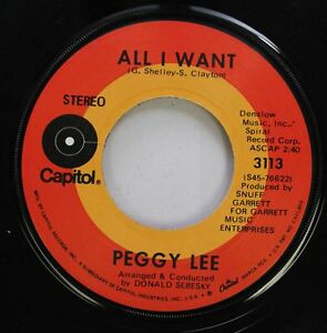 Pop 45 Peggy Lee All I Want Where Did They Go On Capitol $3.00