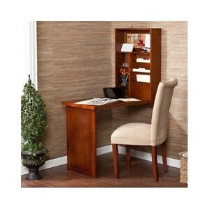 Wall Mount Desk Table Convertible Folding Storage Walnut Home Office Furniture