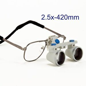 Dental Surgical Loupes 2 5x 420mm Working Distance Titanium Frame Silver