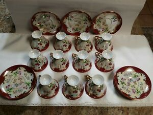 Royal Sealy China Japan Teacup And Saucer Shabby Roses Set Of 11gold Trim