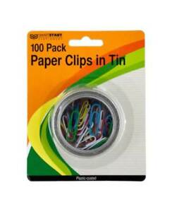 100 pc Plastic Coated Paper Clips In Round Tin Set Of 24 id 3695426