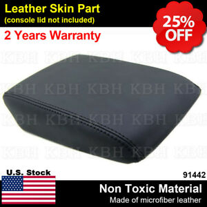 Leather Armrest Center Console Lid Cover Skin Fits For Acura Tl 2004 2008 Black