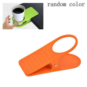 Universal Clip On Coffe Cup Holder Desk Table Beverage Non Slip Stand Grip