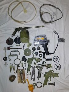 Vintage Air Paint Spray Gun Can Nozzles Tip Wrench Electric Power Part Lot
