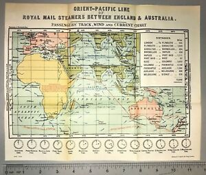 1903 England To Australia Royal Mail Steamers Routes Rare Authentic Vellum Map